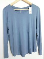 NWT Gap Women's Luxe Long Sleeve Blue Top T-Shirt X-Small MSRP $30 New Free Ship