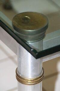 1960's-70's Hollywood Regency Dining Table Aluminum Brass Mod Design Mixed Metal