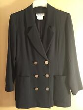 YVES ST. LAURENT Rive Gauche Navy Blue Wool Blazer Size 40 8 Suit Jacket Gold