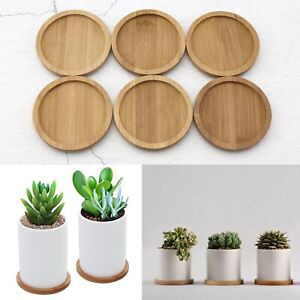 Round Bamboo Wood Saucer Plant Tray Plant Flower Stand Favor Succulent Pot Tray