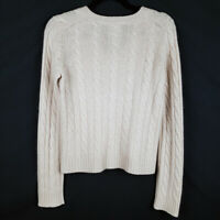 Evelyn Grace Beige 100% Cashmere Cable Knit V Neck Sweater Size Small