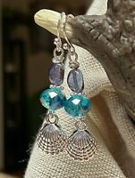 """Blue & Purple with Etched Silver Seashell Dangle Drop Earrings 1-1/2"""" Beach Sand"""