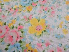 Vtg Pastel Rose Floral Full Double Flat Sheet Glamping 82x96 Muslin