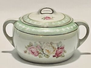 Stunning Hand Painted Virginia Roses Bavaria Porcelain Bowl With Cover