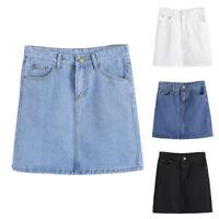 CO_ Women Fashion Party High Waist Bodycon A-Line Jeans Denim Mini Skirt Deluxe