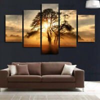 5 Pieces Of Modern Canvas Sunset Painting Oil Print Wall Art For Home Decor US