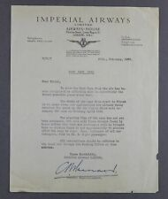 IMPERIAL AIRWAYS VINTAGE AIRLINE LETTER BOAT RACE 1930