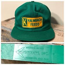 VINTAGE KALMACH FEEDS FARMER AG SEED SNAPBACK K-PRODUCTS MADE IN USA GREEN RARE
