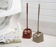 21 Inches Toilet Brush with Holder,Golden Brown,Red,Durable