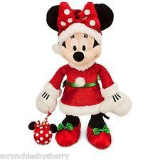 "Disney Minnie Mouse Santa Plush Toy Christmas Ornament in Hand 17"" Theme Parks"