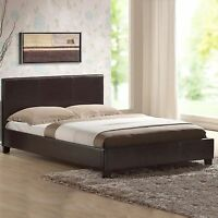 LEATHER BED FRAME WITH ORTHOPAEDIC OR MEMORY FOAM MATTRESS BLACK - BROWN - WHITE