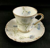 🟢 Antique Theodore Haviland Limoges Blue Forget-me-nots CHOCOLATE CUP & SAUCER