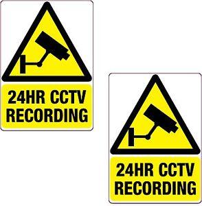 2 x 24HR CCTV Recording Sticker Black  Printed Vinyl Label Home Shop Business