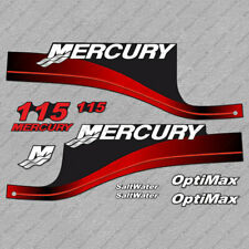 Mercury 115 hp Optimax outboard engine decals RED sticker set reproduction