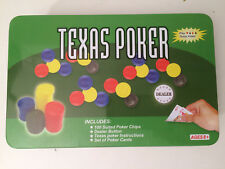 Texas Poker Set 100 chips. Tin Box Travel Edition              H3
