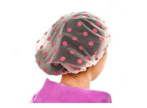 Women Waterproof Elastic Plastic Dot Shower Bathing Salon Hair Care Shower Cap