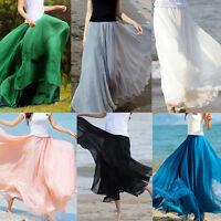 Retro Women Chiffon Double Layer Pleated New Long Maxi Dress Elastic Waist Skirt