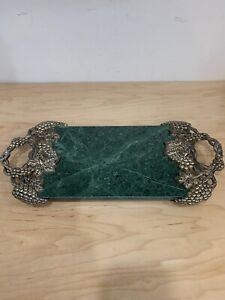 Vintage Godinger Silver Plated Grape & Vine Green marble Serving Tray