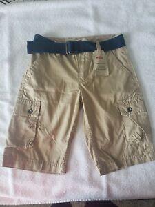 NEW Levis Khaki Cargo Shorts size 8 NWT $42 retail w24 Boys 100% Cotton