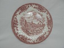 """CHURCHILL CHINA THE BROOK COTTAGE MADE IN ENGLAND PINK & WHITE 10"""" DINNER PLATE"""
