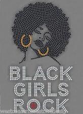Black Girls Rock Rhinestone Iron on T Shirt Transfer                     QBT3