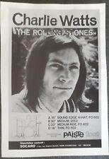 Publicité advert advertising cymbales PAISTE 1976 CHARLIE WATTS ROLLING STONES