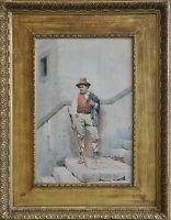 FEDERICO FILIPPO BARTOLINI ITALIAN PAINTING PEASANT VICTORIAN 1861-1908