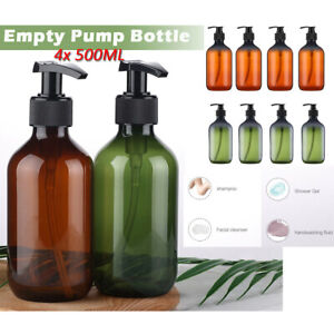 4x 500ML Refillable Empty Shampoo Liquid Soap Dispenser Bottles with Hand Pump