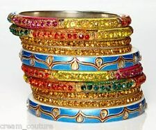 Chamak by Priya Kakkar Set of 10 Party Bangles Topaz Crystal NEW $155 GORGEOUS