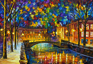AT54378D Abstract Town By Leonid Afremov Wall Decoration Poster Prints