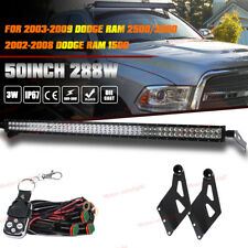 "50"" Straight LED Light Bar+ Roof Mounting Brackets For Dodge Ram 1500 2500 3500"