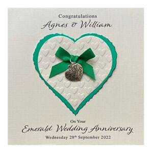 Handmade PERSONALISED Emerald 55th Wedding Anniversary Card - Heart Charm