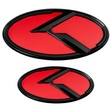 2 LARGE BLACK RED KIA K EMBLEMS BADGES FOR FRONT GRILL HOOD TRUNK