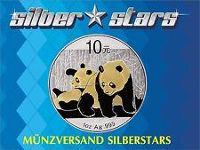 1 OZ argent Chine panda 2010 avec Goldapplikation Gilded