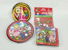 (Lot of 8) Super Mario Birthday Party Supplies Plates Napkins Loot Bags. NEW