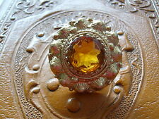 Hermoso Broche Vintage Citrino Diamantes de Imitación