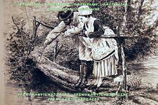 GRAVURE EAU-FORTE fin19è LA PAUSE DU PEINTRE & JEUNE FEMME RUDAUX & CADART 1880