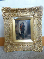 Antique oil on tin board signed N Pero Puzzled framed man dog painting art carve