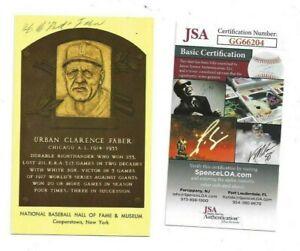 Red Faber Autographed HOF Plaque Postcard Chicago White Sox Baseball HOF JSA COA