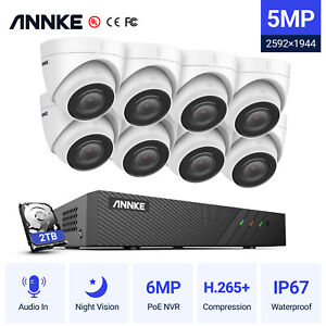 ANNKE 8CH NVR POE HD 4K/5MP Outdoor Security Camera System IP Network Home 0-2TB