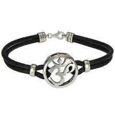 Sterling Silver Aum Bracelet Genuine Leather - Om Ohm Hindu Buddhism Jewelry