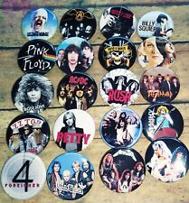 "80s Rock Band button set, Lot of 20-1.25"" 80s Rock Metal Band buttons pins"