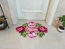 Fashion Door mat Rose Embroidered Bath Rug Washable Door Area Rug 2.5x2.0 Ft