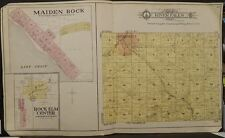 Wisconsin Pierce County Map River Falls Township c.1905 Dbl Pg Y10#92