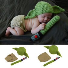 newborn baby yoda photo clothes hand knit Clothes Photo Prop hat 17003