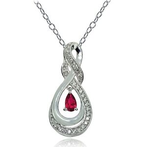 Sterling Silver Gemstone Infinity Twist Teardrop Necklace, 6 Options