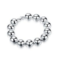 Womens 18K White Gold Plated 10mm Beads Ball String Chain Fashion Bracelet #B293