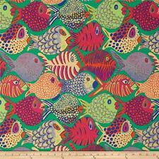 Fat Quarter Kaffe Fassett Shoal Fish - Green - Cotton Quilting Fabrics