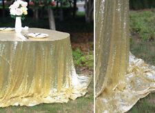 Light Gold Sequin Tablecloth, 90x156 inch, Glitz Sequin, Sparkle Sequin Linen