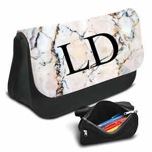 Marble Effect Personalised Pencil Case Game School Bag Kids Stationary - 48